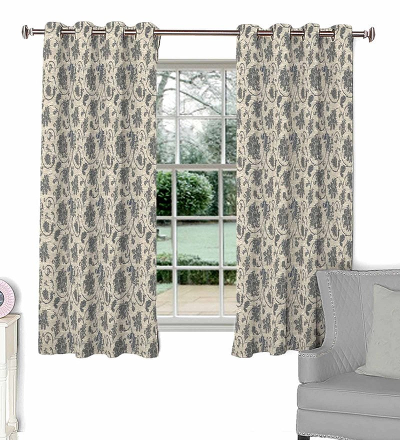 Grey Poly Cotton Window Curtain by Skipper
