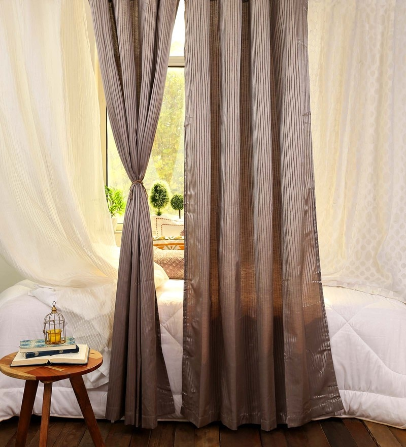 Grey Polyester 48 x 86 Inch Jacquard Curtains - Set of 2 by Turkish Bath