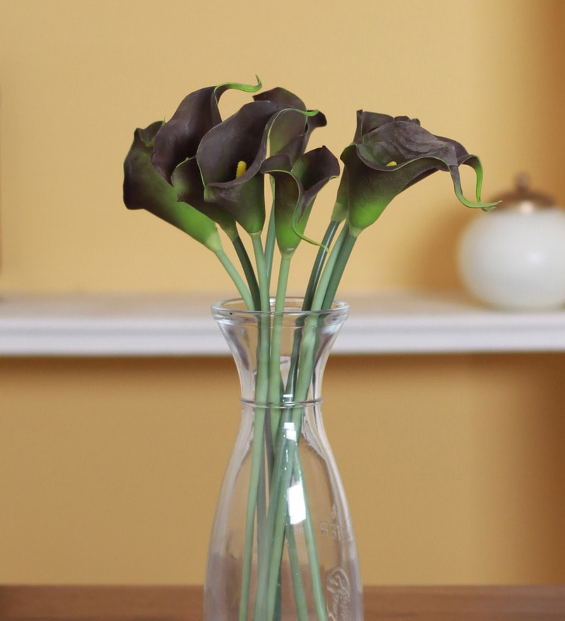 Grey PVC Synthetic Mini Calllily Flower by Fourwalls - Set of 8
