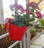Small Red Metal Railing Bucket by Green Gardenia