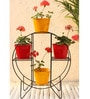 Green Gardenia Iron Hoop Round Pot Stand With 4 Metal Planter in Green & Red color