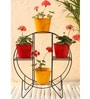 Green Gardenia Iron Hoop Round Pot Stand With 4 Metal Planter in Yellow & Red color