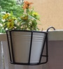 Iron Railing Basket with White Metal Pot by Green Gardenia