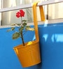 Yellow Metal Railing Bucket with Large Handle Planter by Green Gardenia