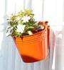 Green Gardenia Railing Bucket Large-Orange