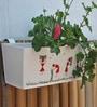 White Railing Rectangular Planter by Green Gardenia
