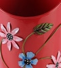 Half Moon Red Floral Printed Metal Pot Planter by Green Girgit