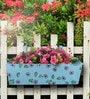 Handpainted Rectangle Planter in Blue Colour by Green Girgit