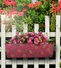 Handpainted Rectangle Planter in Pink Colour by Green Girgit