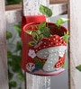 Green Girgit Mushroom Red Metal Pot Planter