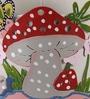 Green Girgit Mushroom White Metal Pot Planter