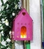 Green Girgit Pink Metal Bird House