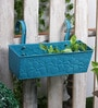 Rectangular Blue Floral Pattern Metal Pot Planter by Green Girgit