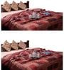 GRJ India Jaipuri Traditional Red Cotton Ethnic Double Quilt - Set of 2