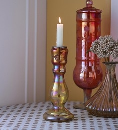 Gupta Glass Gallery Gold Glass With Etching & Colouring Candle Holder