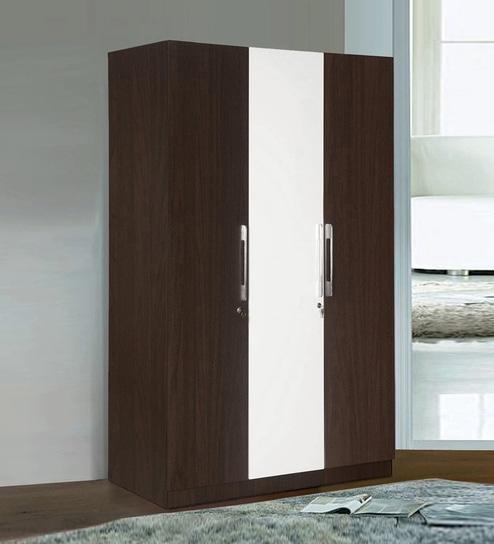 Guardian Three Door Wardrobe in White \u0026 Walnut Finish by @ Home & Buy Guardian Three Door Wardrobe in White \u0026 Walnut Finish by ...
