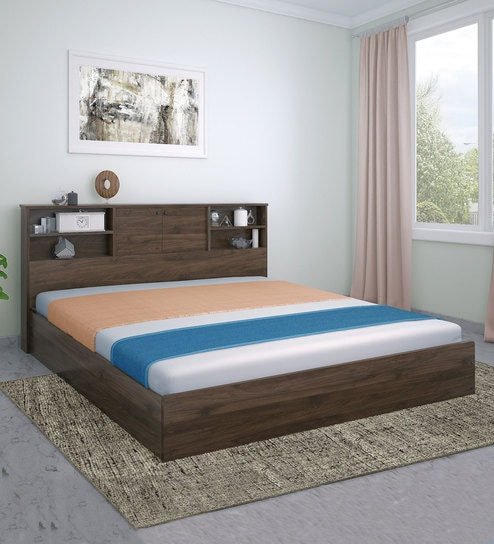 Buy Gunner King Bed With Headboard And Box Storage In Wenge Colour