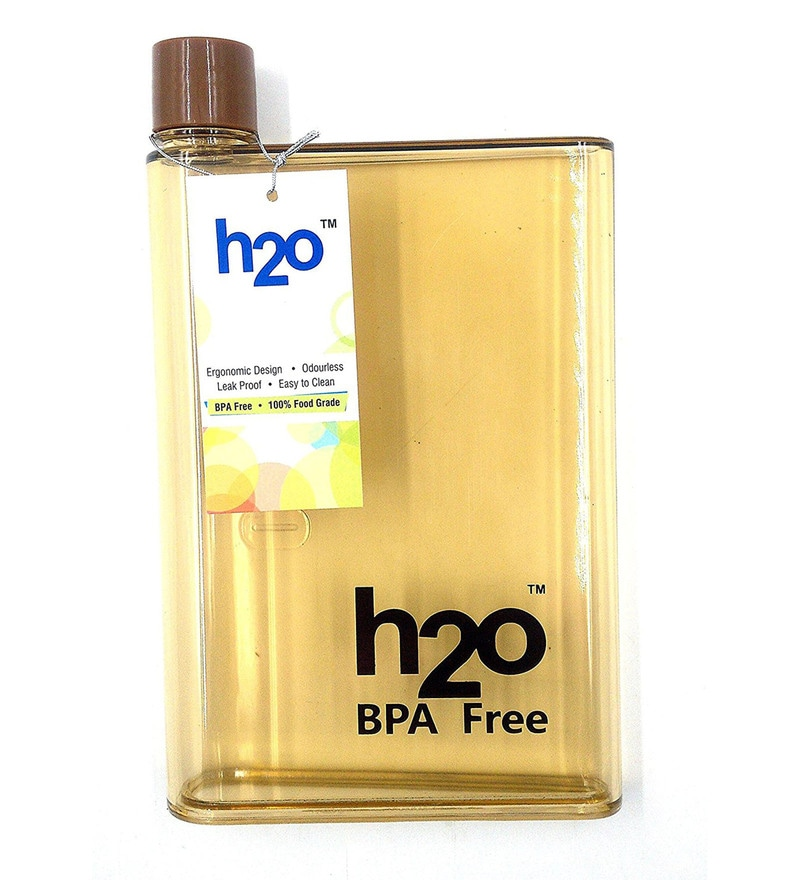 H2O Flat Brown Plastic 450 ML Bottle