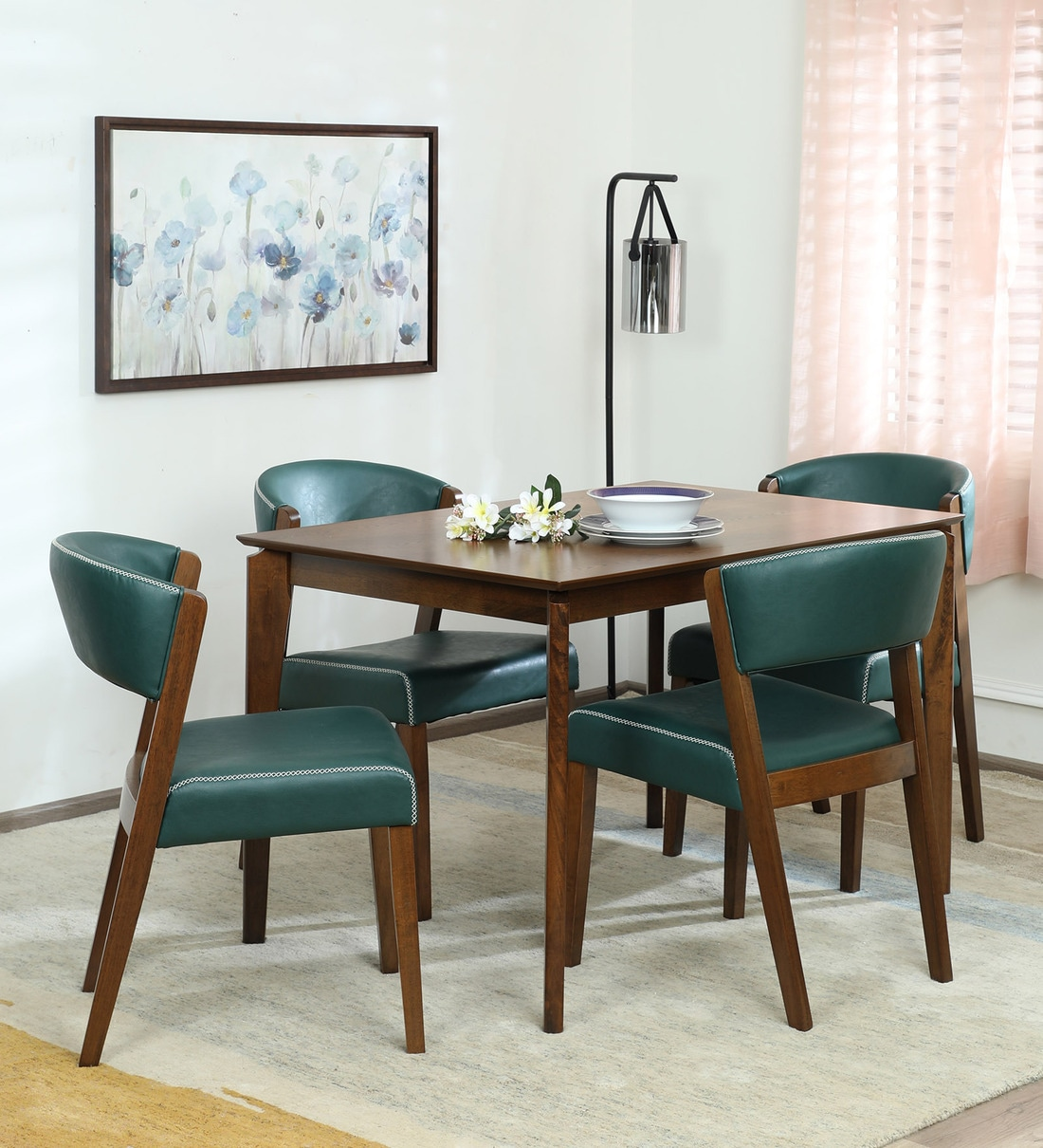 Buy Hajime 4 Seater Dining Set In Walnut Green Finish Casacraft By Pepperfry Online Mid Century Modern 4 Seater Dining Sets Dining Furniture Pepperfry Product