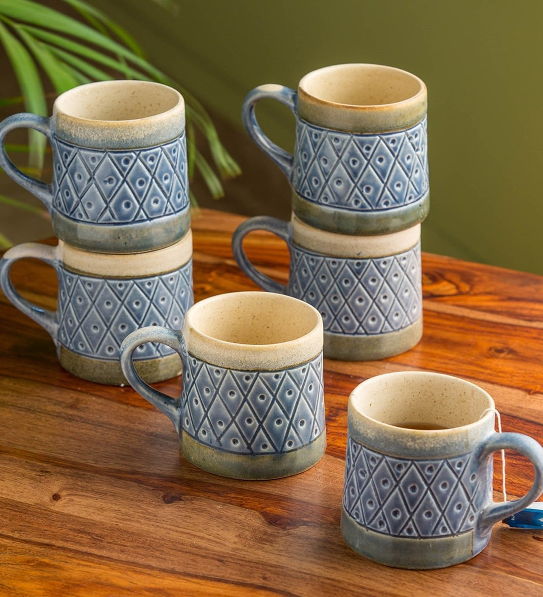 Buy Ceramic 200 Ml Hand Carved Hand Painted Studio Pottery Tea Cups Set Of 6 By Exclusivelane Online Cups Saucers Cups Saucers Discontinued Pepperfry Product