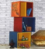 Hand Painted Wooden Stackable Storage Boxes (Set of 3)