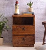 Handcrafted Double Drawer BedSide Table