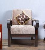 Hapihomes One Seater Sofa in Walnut Finish