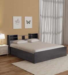 Haku Queen Bed with Headboard and Box Storage in Wenge Finish ... & Queen Size Bed: Buy Double u0026 Queen Size Beds Online @ Best Prices ...
