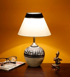 Handcrafted Teracotta Warli Hand Painting Table Lamp