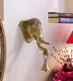 Antique Yellow Brass Ganpati Wall Hanging With Bell