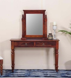 Harleston Dressing Tables With Mirror In Honey Oak Finish