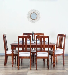 Harleston Six Seater Dining Set In Honey Oak Finish
