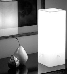 Haverds White Acrylate Contemporary White Recta Table Lamp