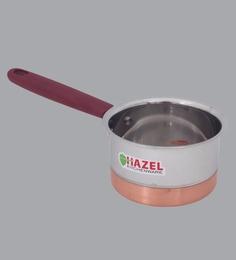 Hazel Alfa Premium Heavy Gauge Stainless Steel Flat Patila Sauce Pan With Copper Bottom ,800 Ml