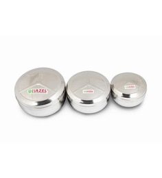 Hazel Silver Stainless Steel Round 350 Ml, 500 Ml, 950 Ml Container - Set Of 3