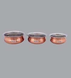 Hazel Stainless Steel Copper Mini Handis ,400 Ml, 550 ML & 770 ML - Set Of 3