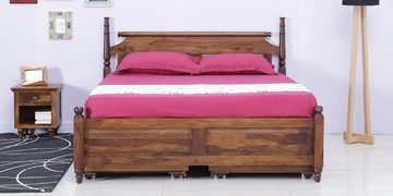 Harleston Queen Bed With Storage In Provincial Teak Finish
