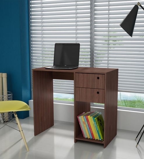 Hanako Study Table with Two Drawer in Nut Brown Finish by Mintwud
