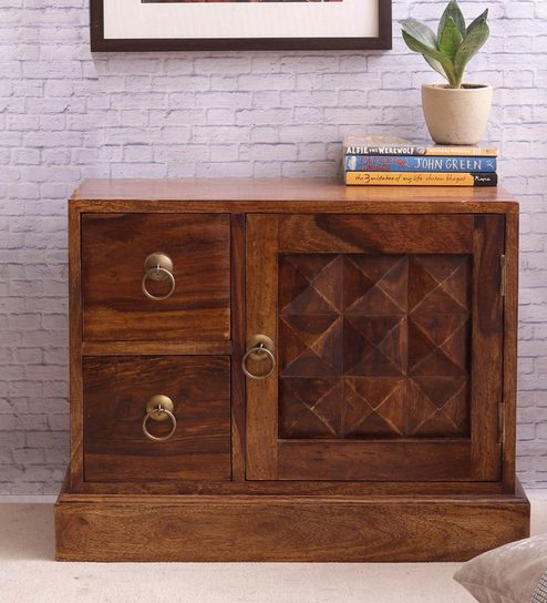 Hand Crafted Sheesham Wood Bedside Table By VarEesha