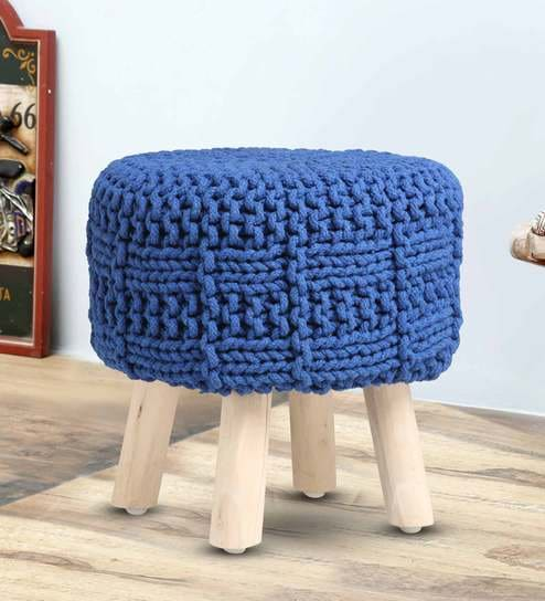 Sensational Lao Hand Knitted Seating Stool In Blue Colour By Romee Gmtry Best Dining Table And Chair Ideas Images Gmtryco