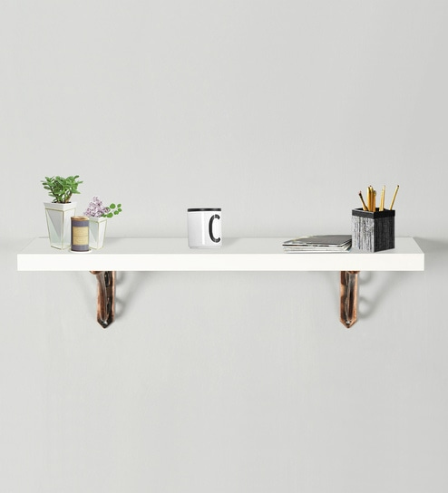 Hand Made Multi Purpose Wall Shelf With Metal Support In Copper White Finish By Deco Home