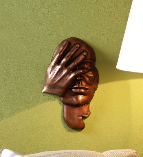 Buy Brown Brass Thinking Man Wall Hanging Showpiece by Handecor ...