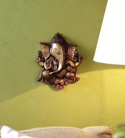 Buy Multicolour Brass Ganesha Wall Hanging Idol By Handecor Online ...