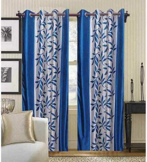 Handloomdaddy Beautiful Sky Blue Color Leaf Design With Border Polyester Curtain Set Of 2 Pcs