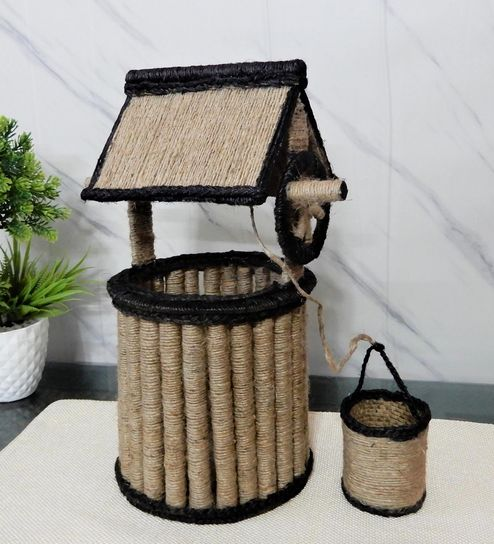 Buy Handmade Jute Lit The Well Shade Table Lamp With Brown Base By Disoo Fashions Online Modern And Contemporary Table Lamps Table Lamps Lamps Lighting Pepperfry Product