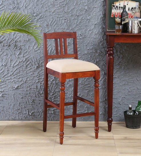 Buy Harleston Solid Wood Bar Chair In Honey Oak Finish By Amberville