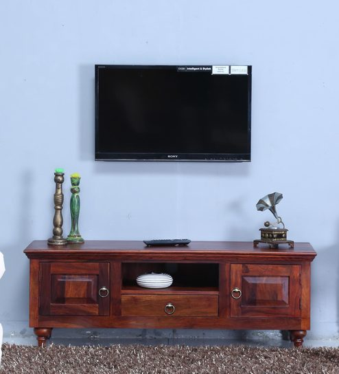 Buy Harleston Solid Wood TV Unit in Honey Oak Finish by Amberville ...