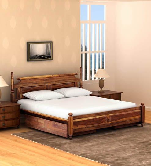Harleston Solid Wood King Size Bed With Storage In Provincial Teak Finish By Amberville