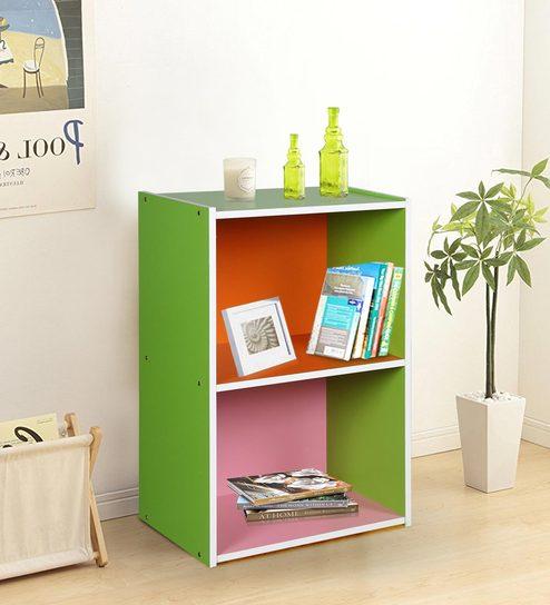 Two Tier Bookshelf In Multi Colour