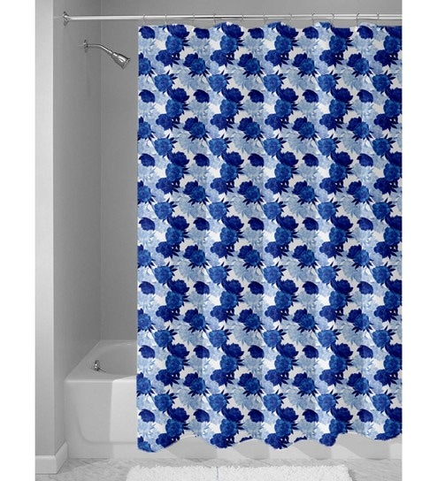 Blue And White Nylon 84 X 48 Inch Shower Curtain By Haus Sie